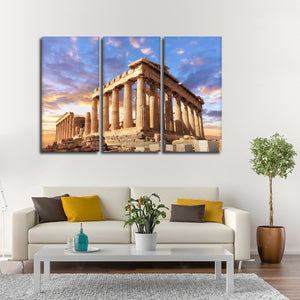 Sunset Over The Acropolis Multi Panel Canvas Wall Art - Landmarks