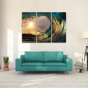 Surf At Sunset Beach  Multi Panel Canvas Wall Art - Surfing