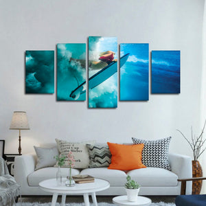 Surfer Multi Panel Canvas Wall Art - Surfing