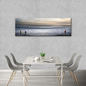 Surfers And Clouds Multi Panel Canvas Wall Art - Surfing