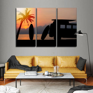 Surfing Road Trip Multi Panel Canvas Wall Art - Surfing