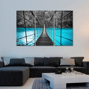 Suspension Bridge Multi Panel Canvas Wall Art - Nature