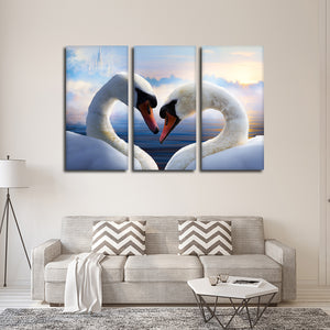 Swans In Love Multi Panel Canvas Wall Art - Animals