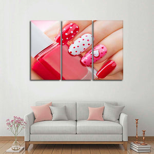 Sweetheart Manicure Multi Panel Canvas Wall Art - Nails