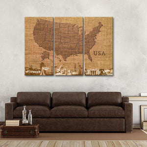 Jute USA Map Masterpiece Multi Panel Canvas Wall Art - Usa_map