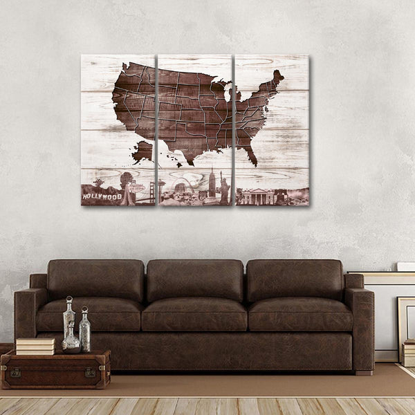 Wooden Usa Map Masterpiece Multi Panel Canvas Wall Art