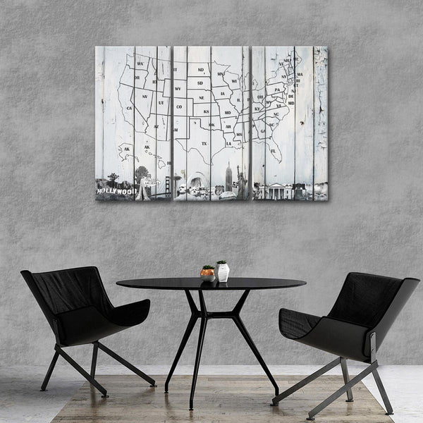 White Wooden Usa Map Masterpiece Multi Panel Canvas Wall Art