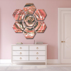 Wooden Rose Multi Panel Canvas Wall Art - Rose