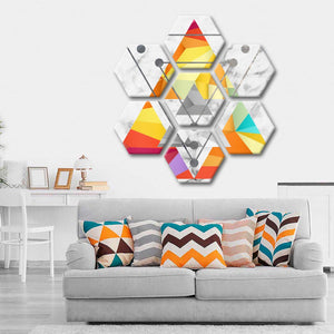 Triangular Color Multi Panel Canvas Wall Art - Geometric