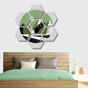 Green Geometrical Mountains Multi Panel Canvas Wall Art - Geometric