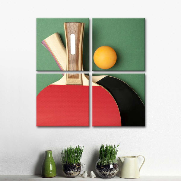 Table Tennis Match Multi Panel Canvas Wall Art