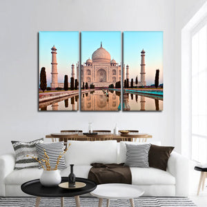 Taj Mahal At Sunset Multi Panel Canvas Wall Art - Landmarks