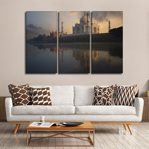Taj Mahal Side View Multi Panel Canvas Wall Art - Landmarks