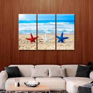 Patriotic Starfish Multi Panel Canvas Wall Art - Beach