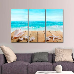 Shell Boardwalk Multi Panel Canvas Wall Art - Beach