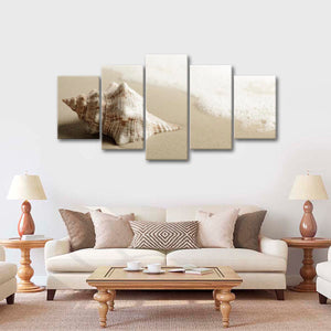 Conch In The Sand Multi Panel Canvas Wall Art - Beach