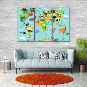 Kids Haven World Map Multi Panel Canvas Wall Art - World_map