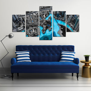 Aerial City Multi Panel Canvas Wall Art - City