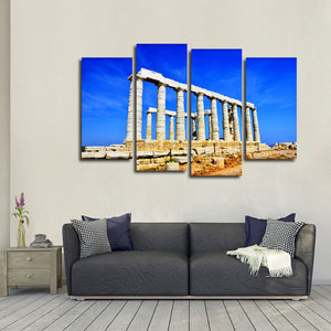 Temple Of Poseidon Multi Panel Canvas Wall Art - Landmarks