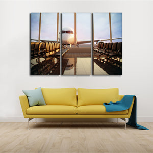 Terminal Multi Panel Canvas Wall Art - Airplane
