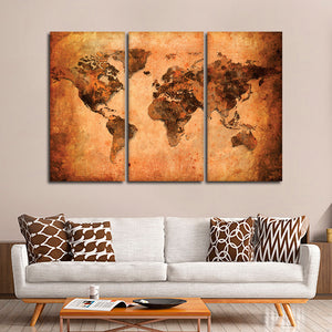 Terracotta World Map Multi Panel Canvas Wall Art - World_map