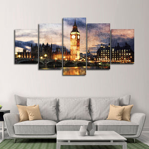 Textured Big Ben At Dusk Multi Panel Canvas Wall Art - City