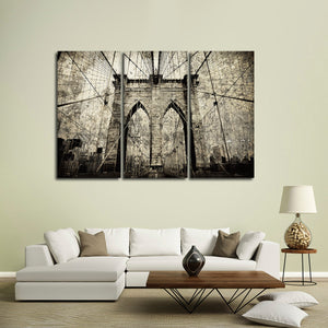 Textured Brooklyn Bridge Multi Panel Canvas Wall Art - Bridge