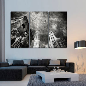 Textured Chicago Skyline Multi Panel Canvas Wall Art - City