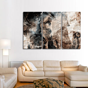 Textured Elephant View Multi Panel Canvas Wall Art - Elephant