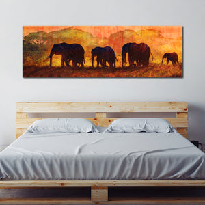 Textured Elephants in Tanzania Multi Panel Canvas Wall Art - Elephant