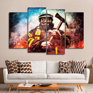 Textured Firefighter Mask Multi Panel Canvas Wall Art - Firefighters