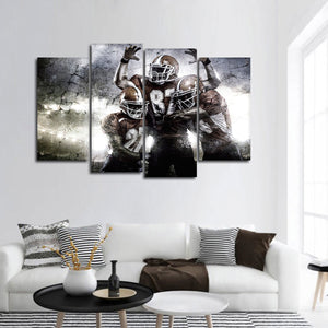 Textured Football Players Multi Panel Canvas Wall Art - Football