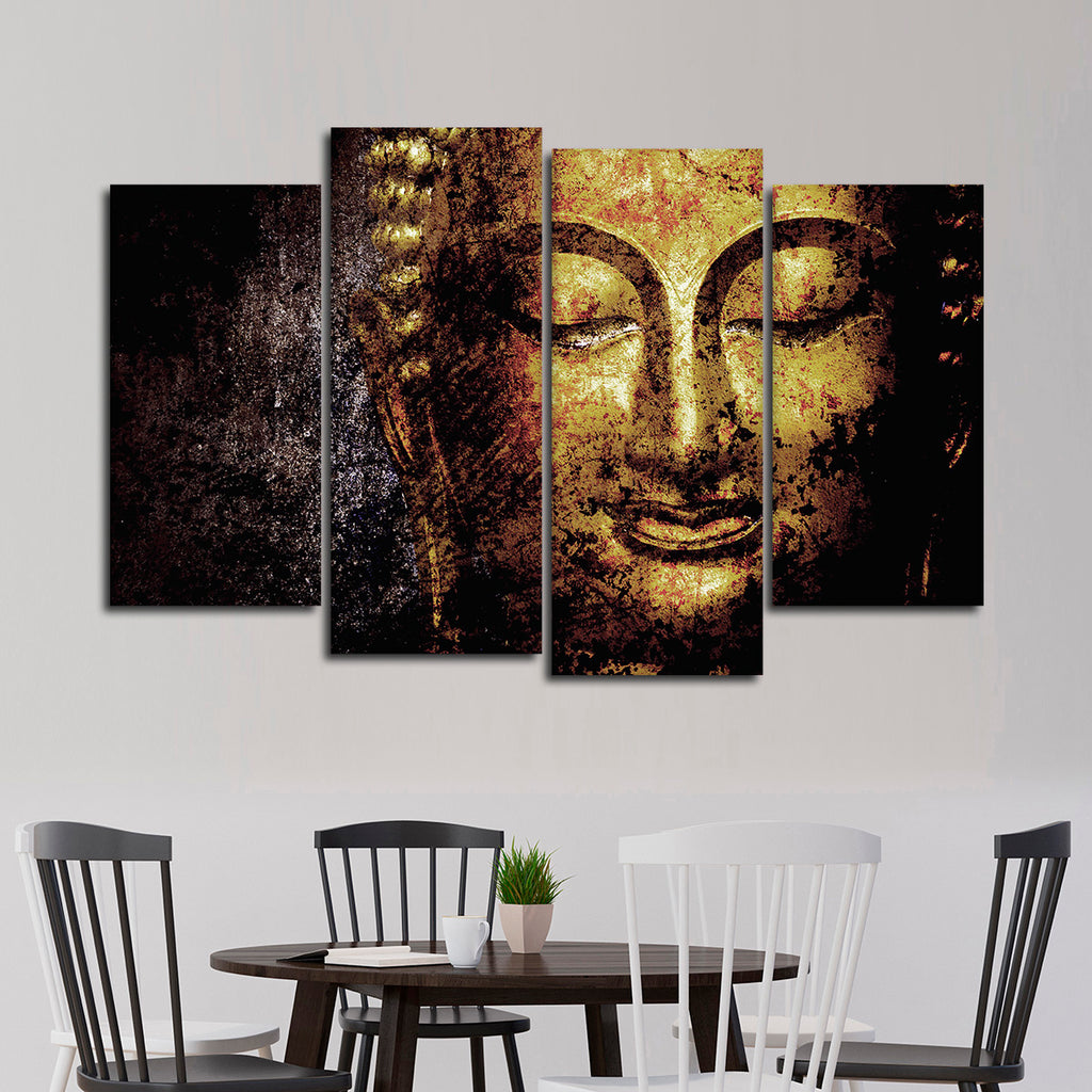 Textured golden buddha multi panel canvas wall art elephantstock