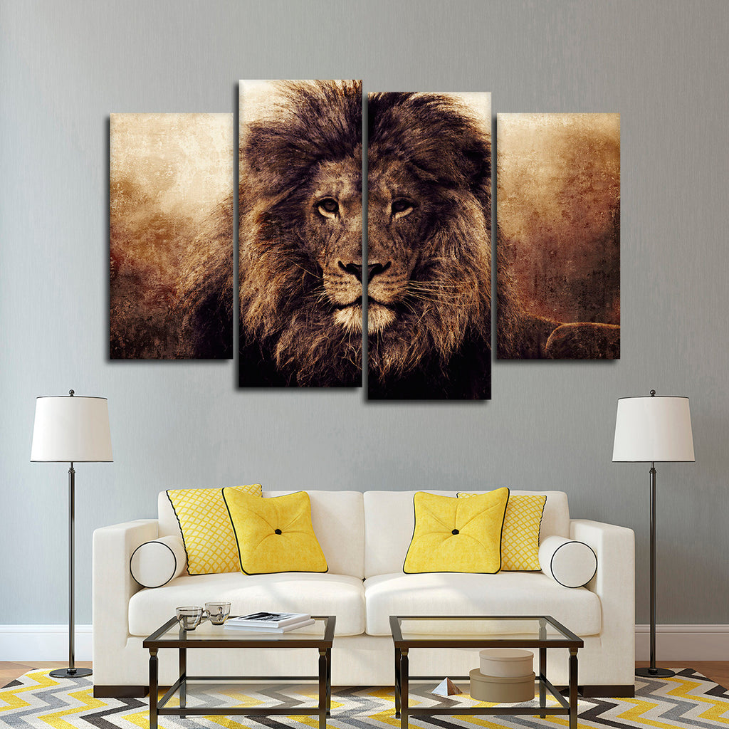 Textured lions fame multi panel canvas wall art