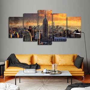 Textured NYC At Sunset Multi Panel Canvas Wall Art - City