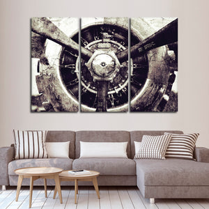 Textured Retro Engine Multi Panel Canvas Wall Art - Airplane