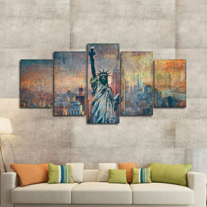 Textured Statue Of Liberty Multi Panel Canvas Wall Art - City