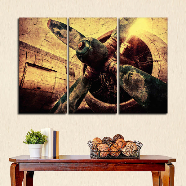 Textured Vintage Airplane Multi Panel Canvas Wall Art