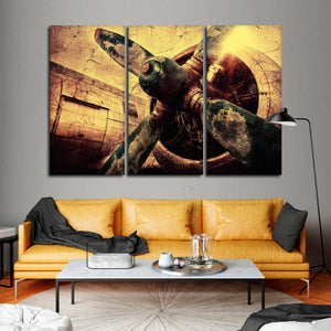 Textured Vintage Airplane Multi Panel Canvas Wall Art - Airplane