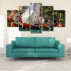 Thai Boats Multi Panel Canvas Wall Art - Boat