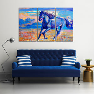 The Blue Horse Multi Panel Canvas Wall Art - Horse