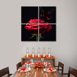 The Rose Multi Panel Canvas Wall Art - Rose