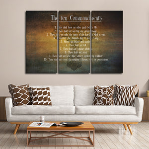 The Ten Commandments Multi Panel Canvas Wall Art - Religion