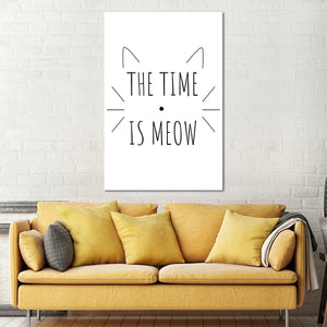 The Time Is Meow Canvas Wall Art - Cat
