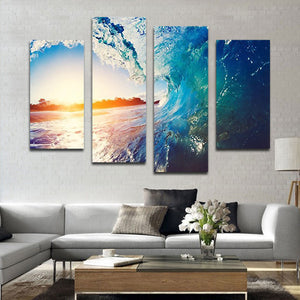 The Wave Multi Panel Canvas Wall Art - Surfing