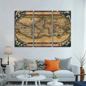 Theater of the World Multi Panel Canvas Wall Art - World_map