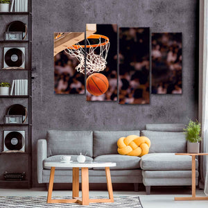 Three Points Multi Panel Canvas Wall Art - Basketball