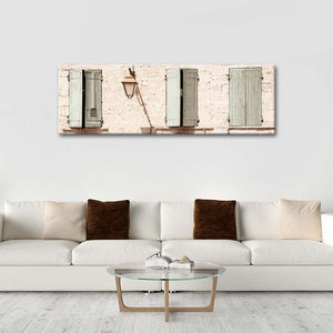 Three Provencal Windows Multi Panel Canvas Wall Art - Architecture