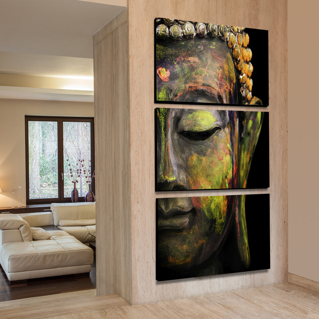 tides of tranquility buddha multi panel canvas wall art elephantstock. Black Bedroom Furniture Sets. Home Design Ideas