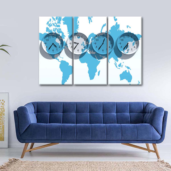 Time Zones World Map Multi Panel Canvas Wall Art